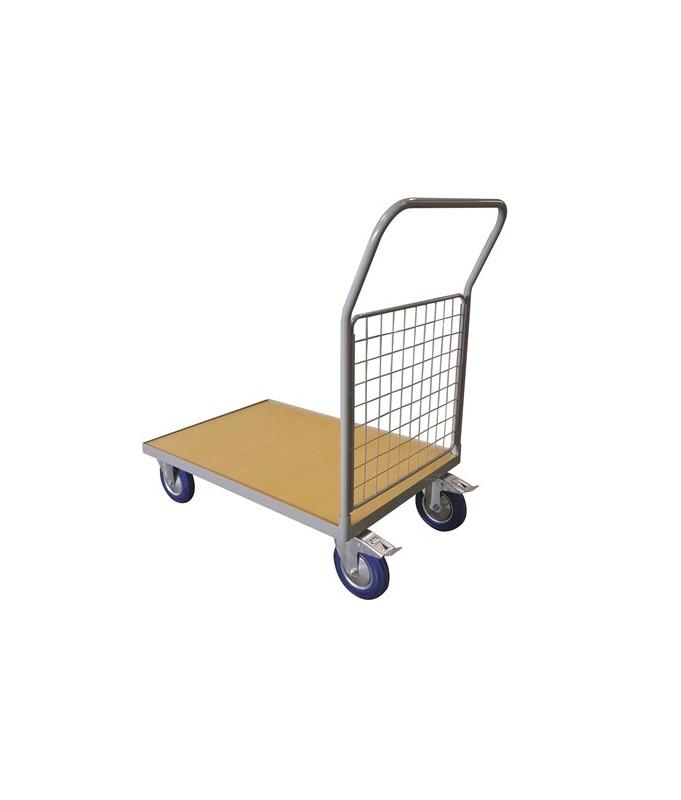 WPG25A Chariot plateau bois 250 kg avec 1 dossier grillagé (petit)