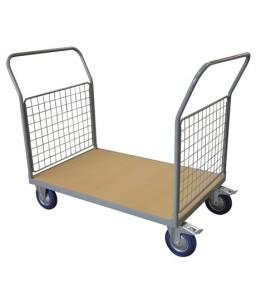 WPG25D Chariot plateau bois 250 kg avec 2 dossiers grillagés (grand)