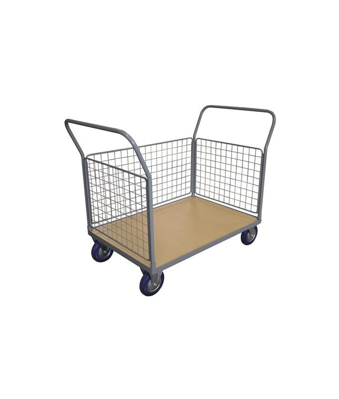 WPG25F Chariot plateau bois 250 kg avec 2 dossiers + 3 côtés grillagés (grand)