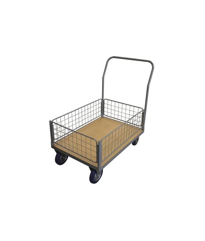 WPG25I Chariot plateau bois 250 kg avec 1 dossier + 1 panier grillagé bas (petit)