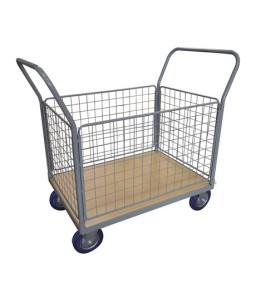 WPG25H Chariot plateau bois 250 kg avec 2 dossiers + 4 côtés grillagés (grand)