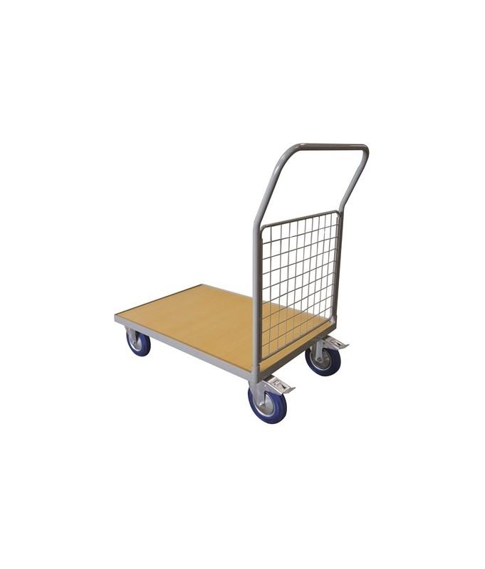 WPG50B Chariot plateau bois 500 kg avec 1 dossier grillagé (grand)