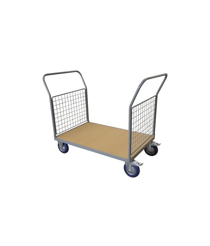 WPG50C Chariot plateau bois 500 kg avec 2 dossiers grillagés (petit)