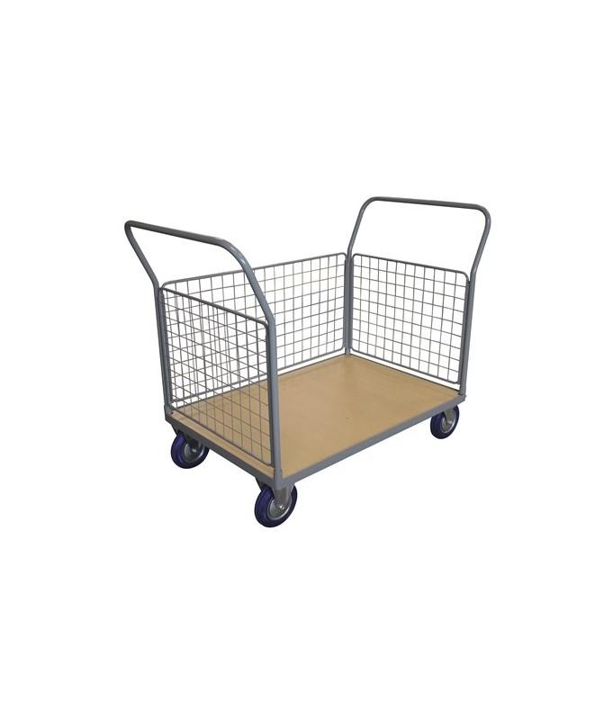 WPG50F Chariot plateau bois 500 kg avec 2 dossiers + 3 côtés grillagés (grand)