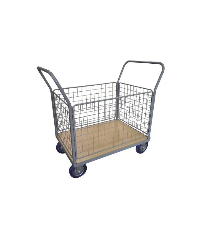 WPG50H Chariot plateau bois 500 kg avec 2 dossiers + 4 côtés grillagés (grand)