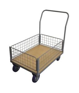 WPG50J Chariot plateau bois 500 kg avec 1 dossier + 1 panier grillagé bas (grand)