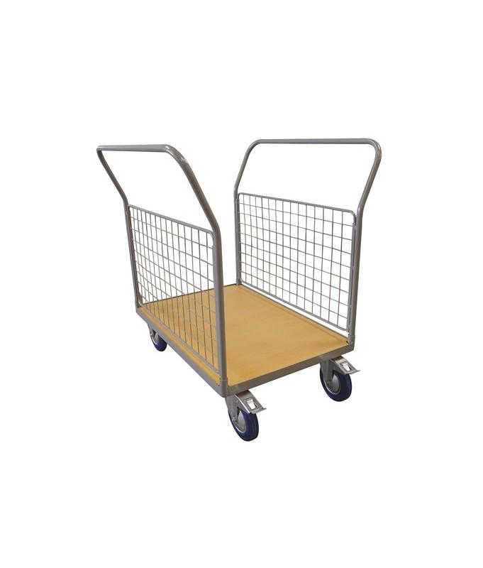WPG50L Chariot plateau bois 500 kg avec 2 dossier grillagés dans la longueur (grand)