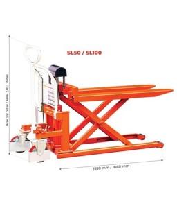 SL100L Transpalette haute levée manuel grande capacité largeur 690 mm 1000 kg