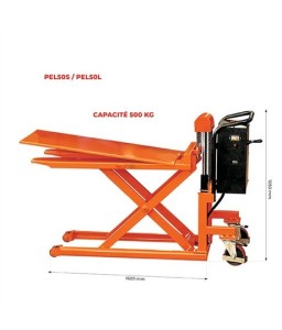 PEL50L Transpalette haute levée électrique grande capacité largeur 703 mm 500 kg
